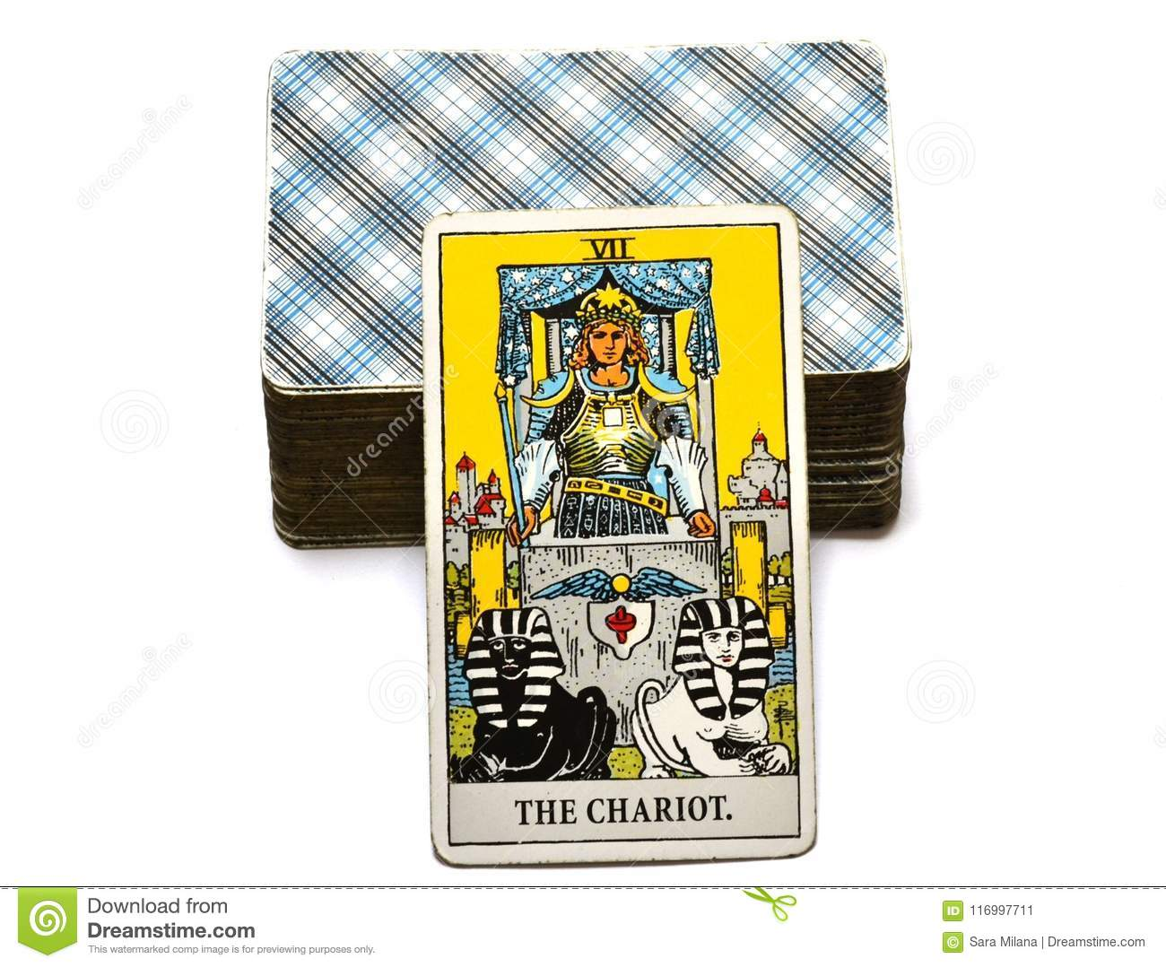 The Chariot Tarot Card Travel Success Detemination Stock