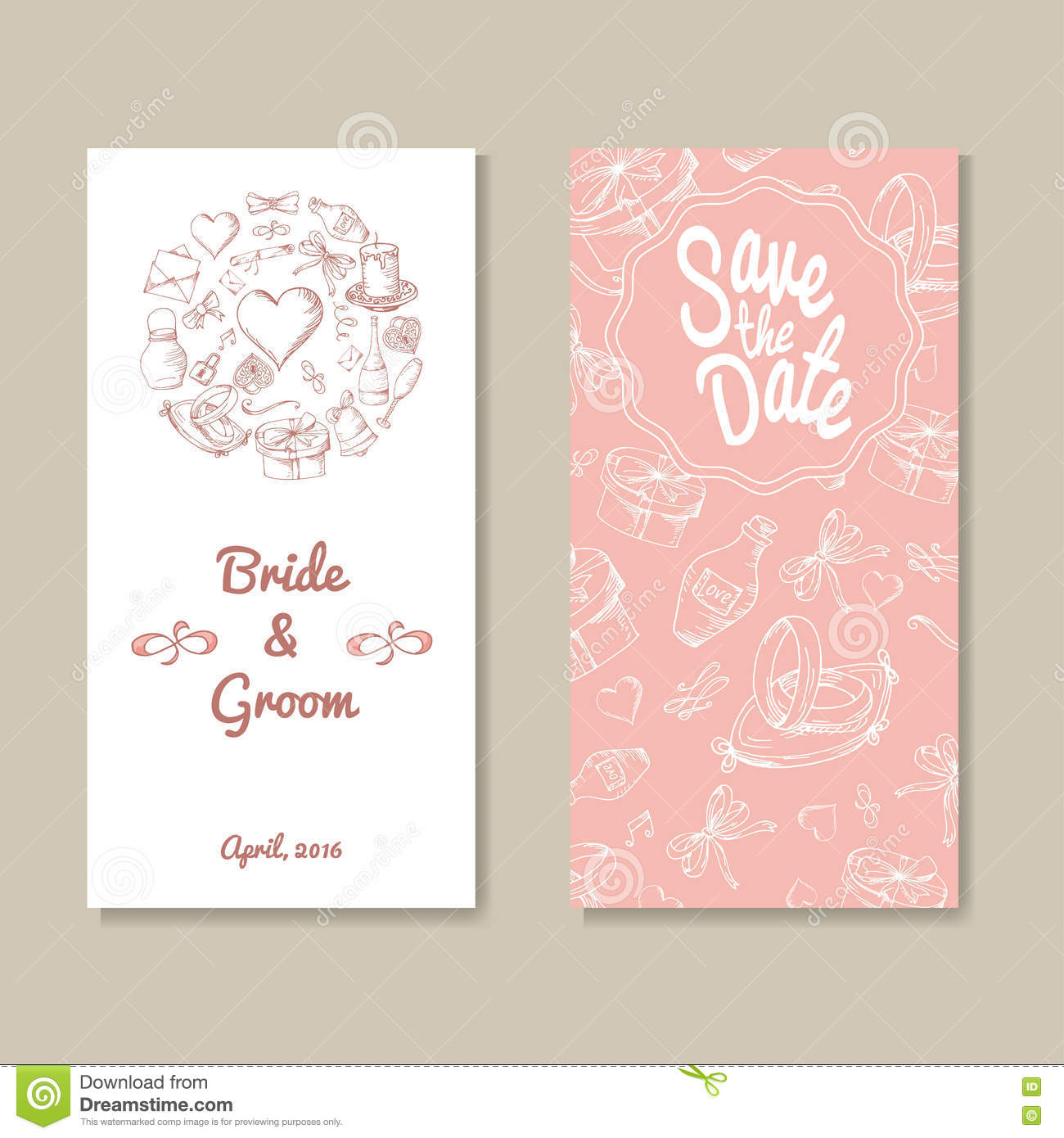 card vector template for wedding set of invitations for thank you