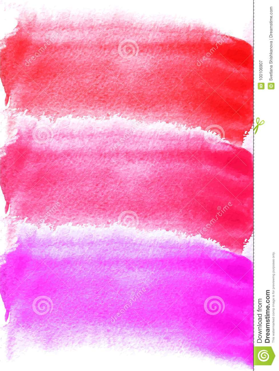 Card with watercolor blots. Purple, pink, red colors. Painting for your design. Abstract bright textured backdrop. Vector