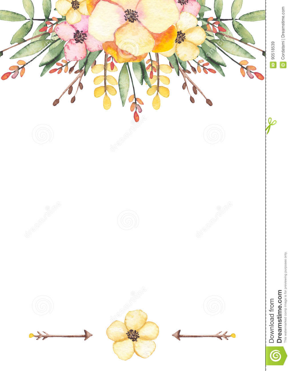 Card With Watercolor Wild Flowers Branches And Arrows Stock