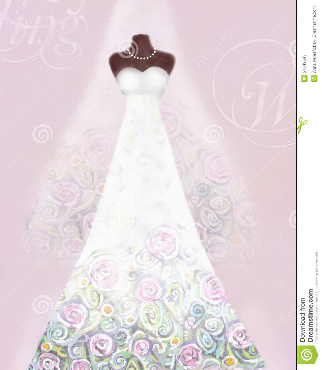 Card with wedding dress on a mannequin and veil floral for Wedding dress patterns free download