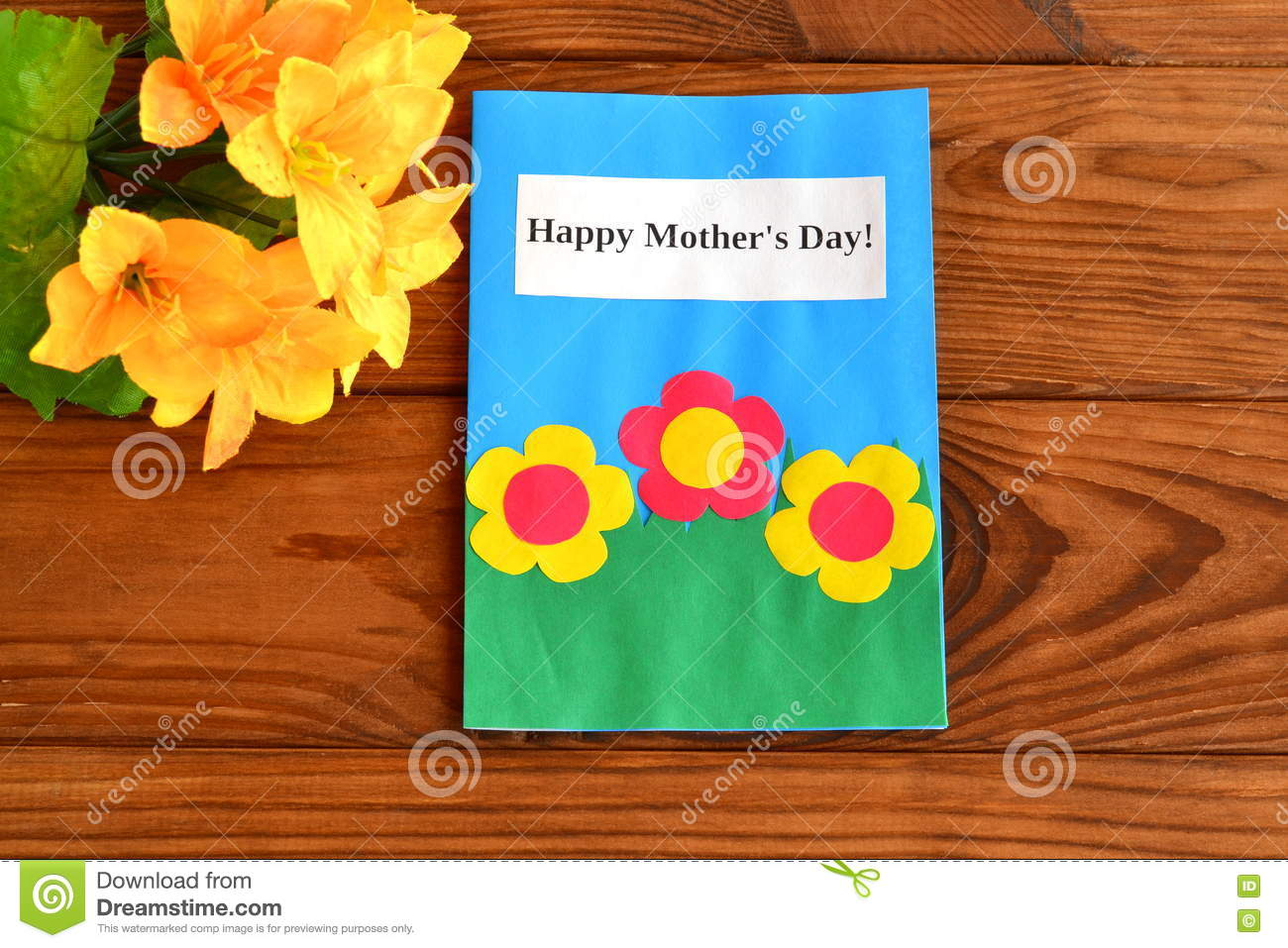 Card With Words Happy Mother S Day A Bouquet Of Flowers Children S