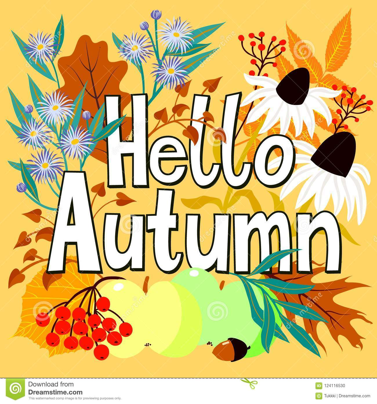 Card With Words Hello Autumn And Fall Leaves Stock Vector