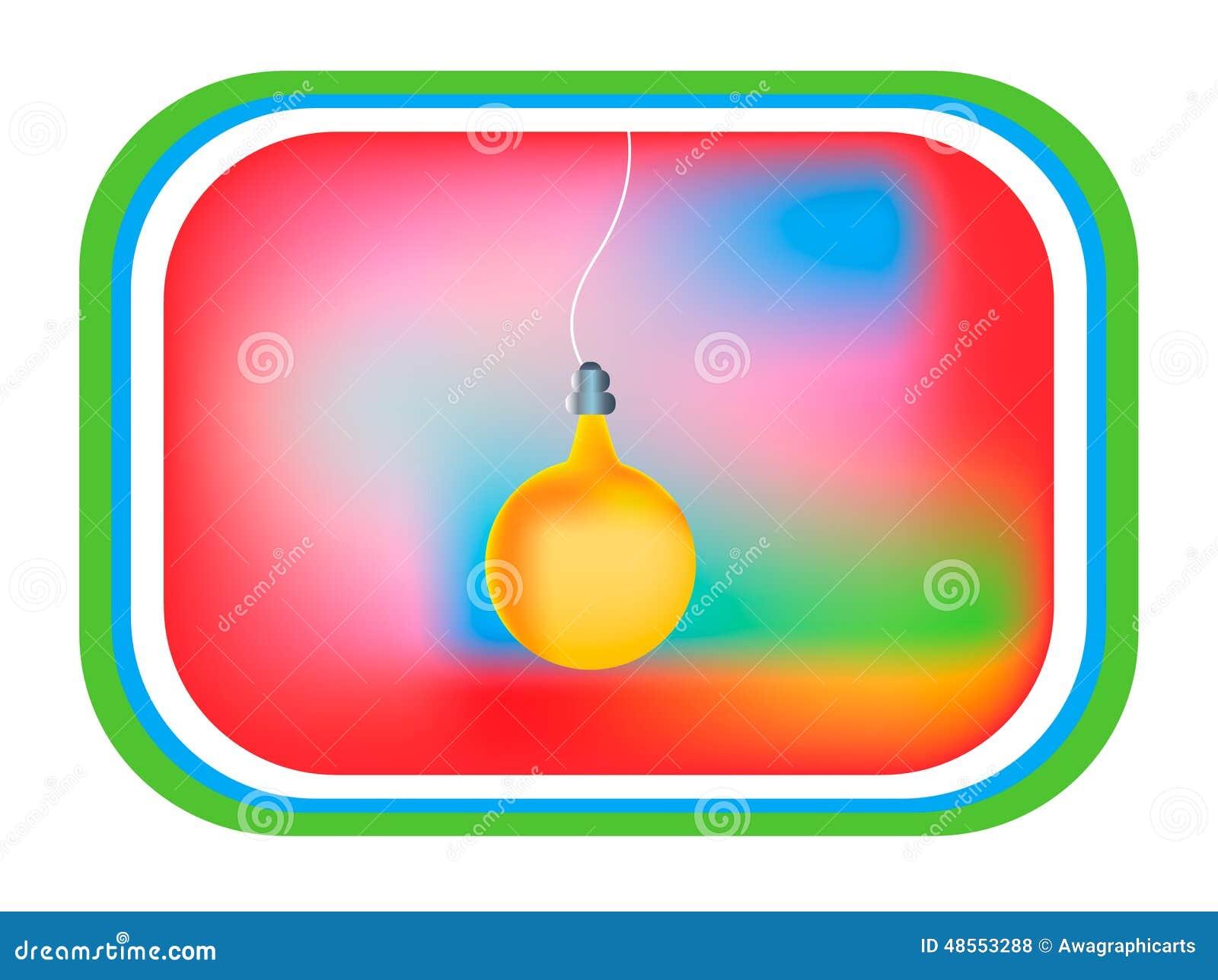 Card yellow light bulb, tv display