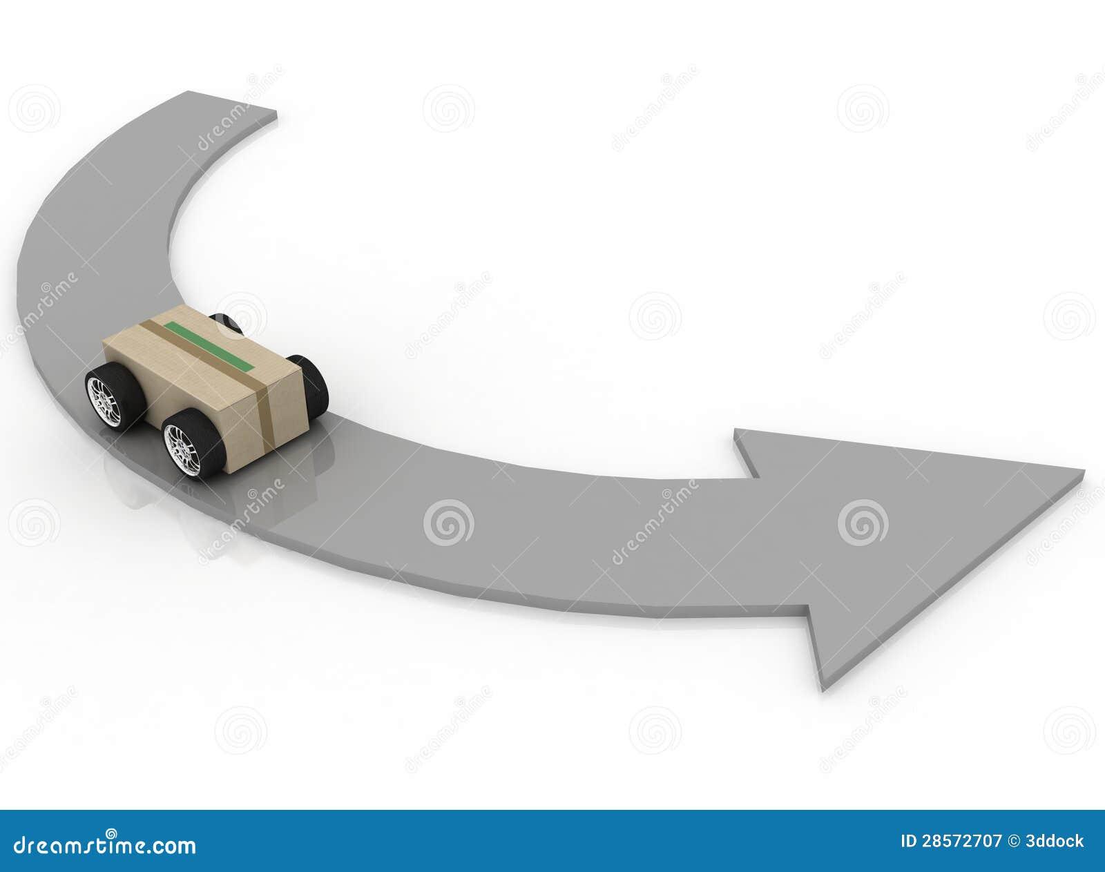 Cardboard Box With Car Wheels Stock Illustration Image 28572707
