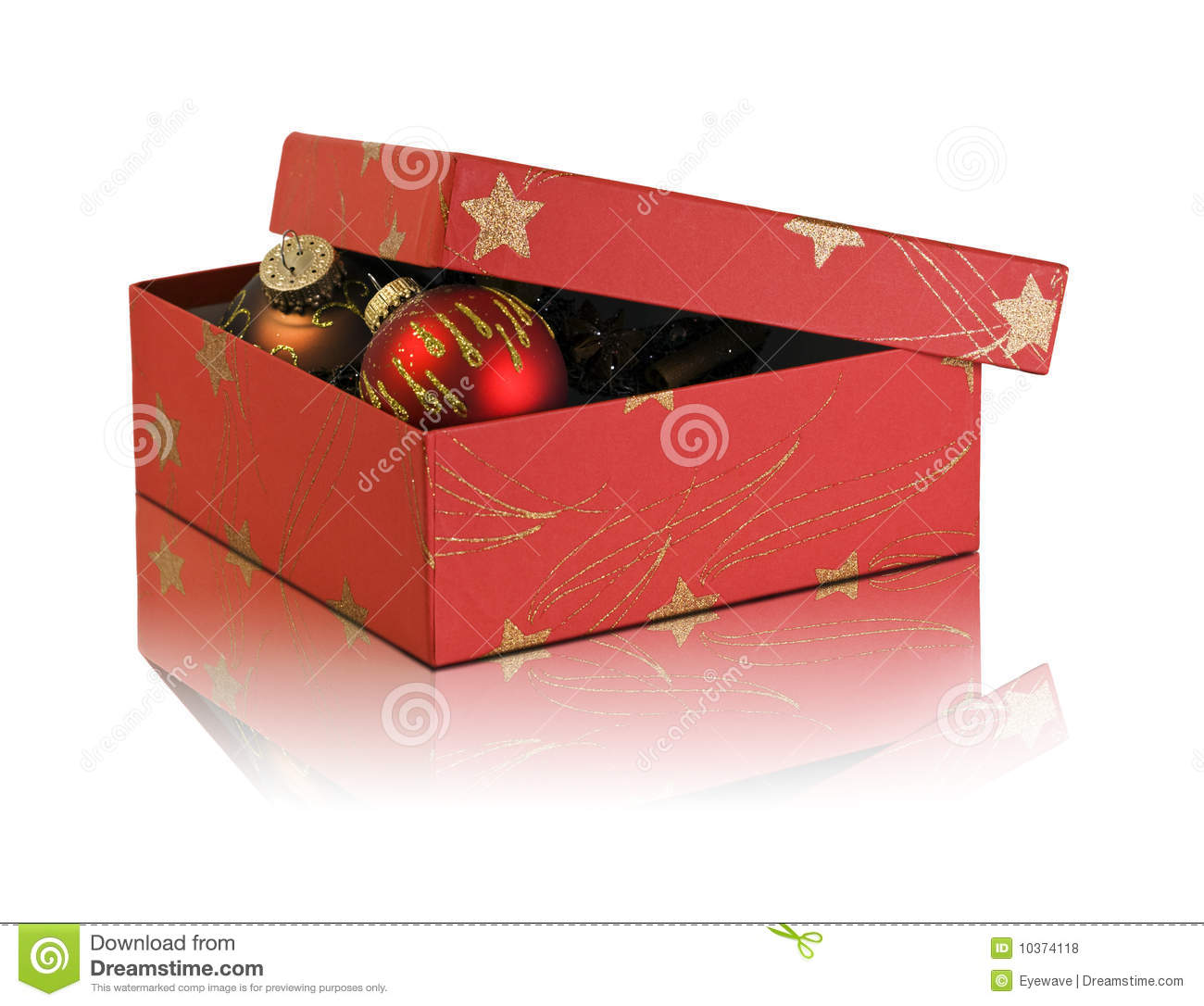 download cardboard box with christmas decoration stock photo image of ornate gold 10374118 - Cardboard Box Christmas Decorations
