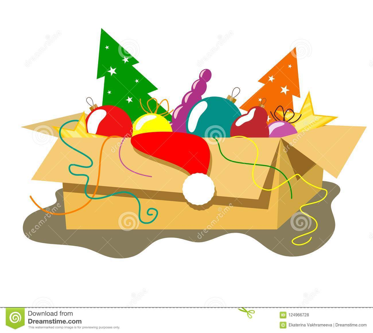 download cardboard box with christmas decorations and decor in the style of flat stock vector - Cardboard Box Christmas Decorations