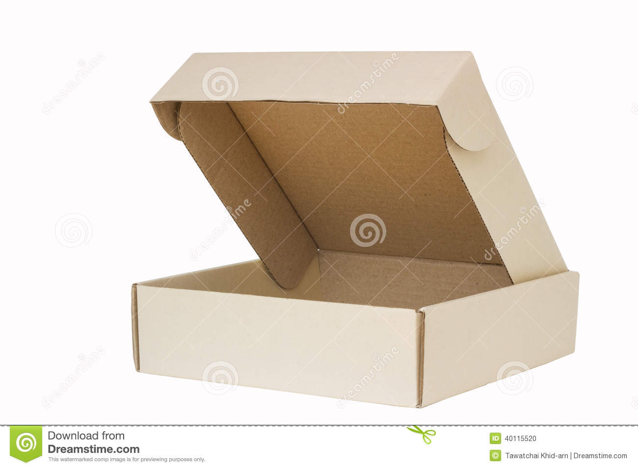 cardboard box with flip open lid lid open isolated on