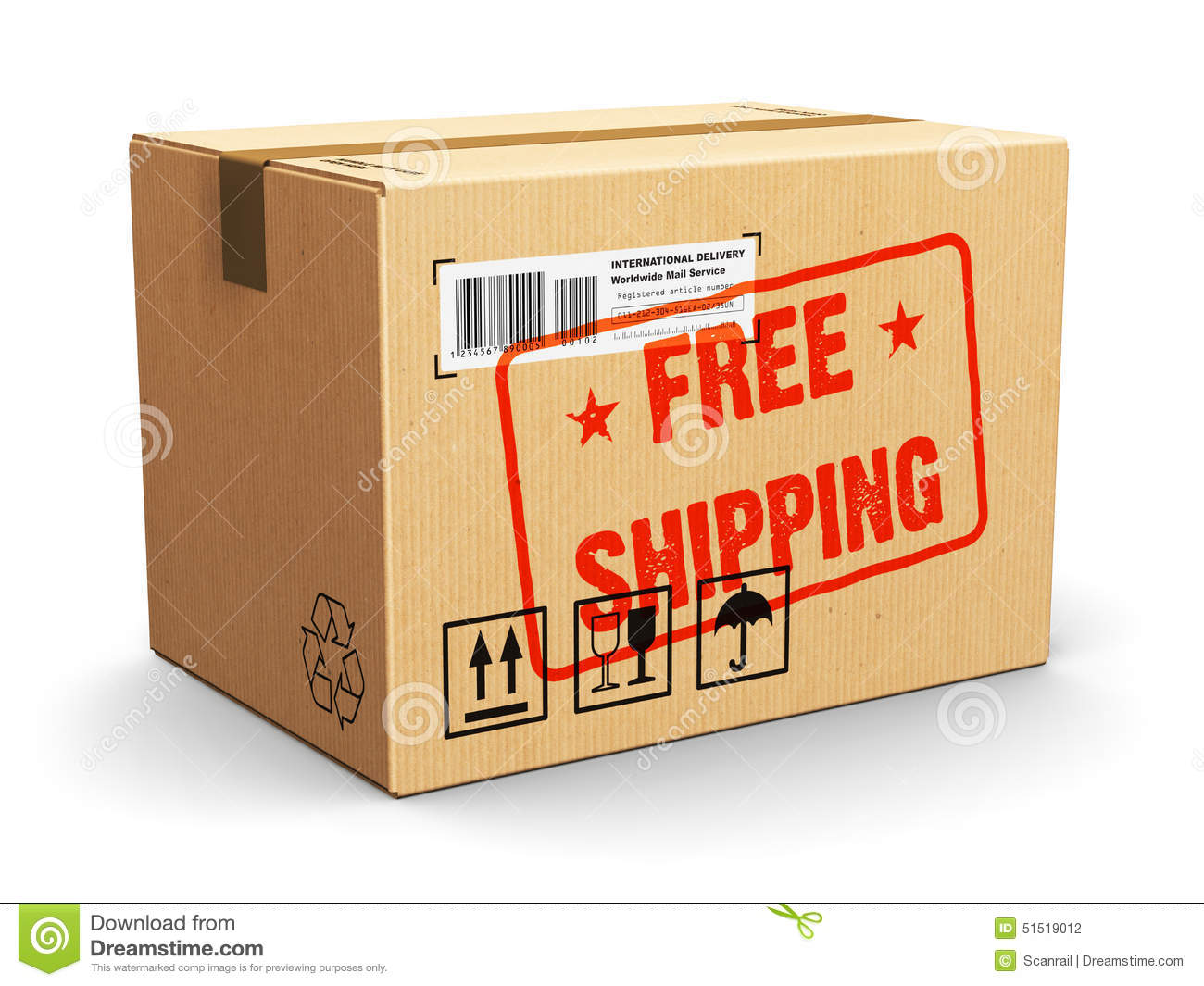 Cardboard Box With Free Shipping Stamp Stock Illustration