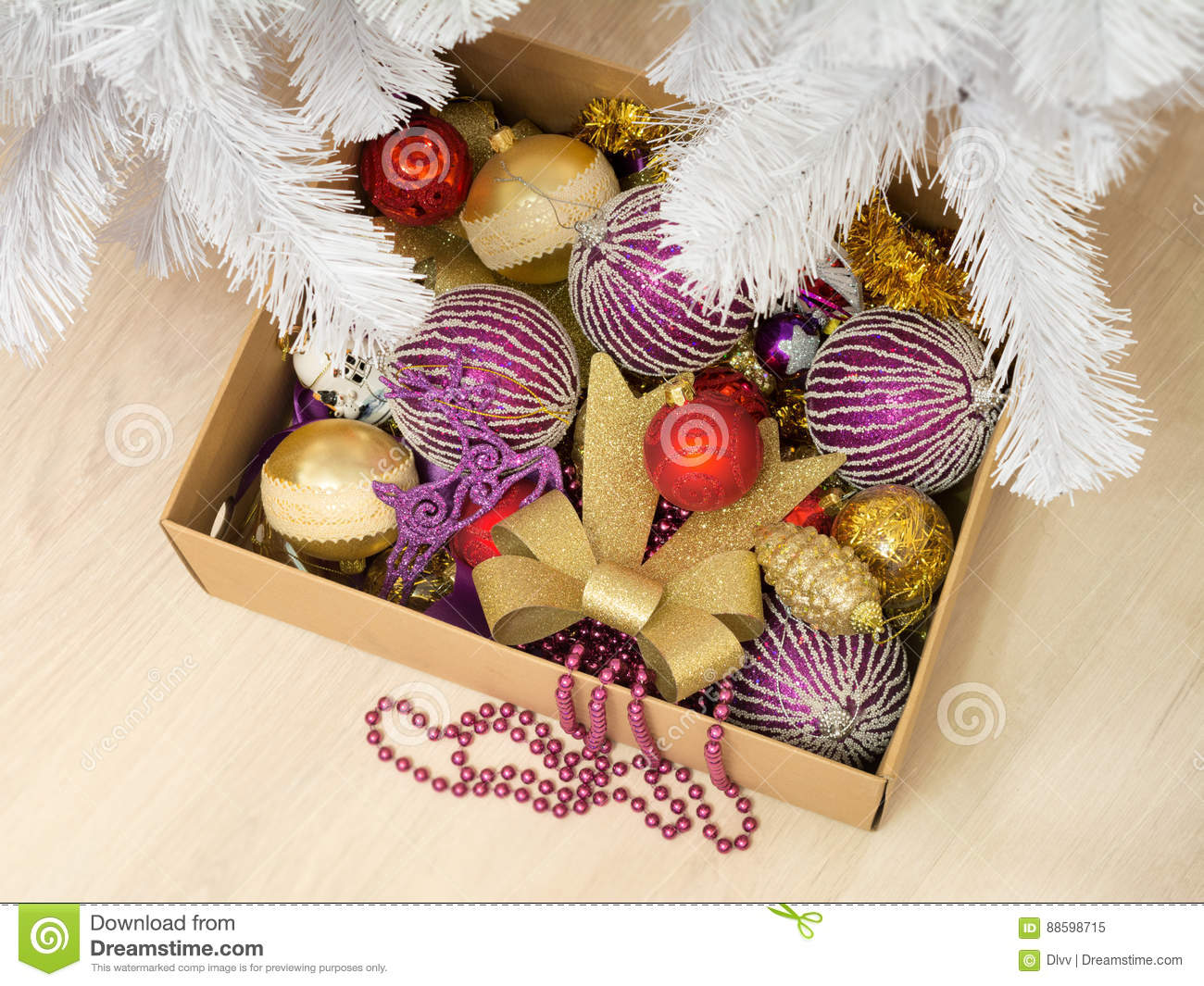 download cardboard box full of various christmas decorations and a bead garland stock image image - Cardboard Box Christmas Decorations