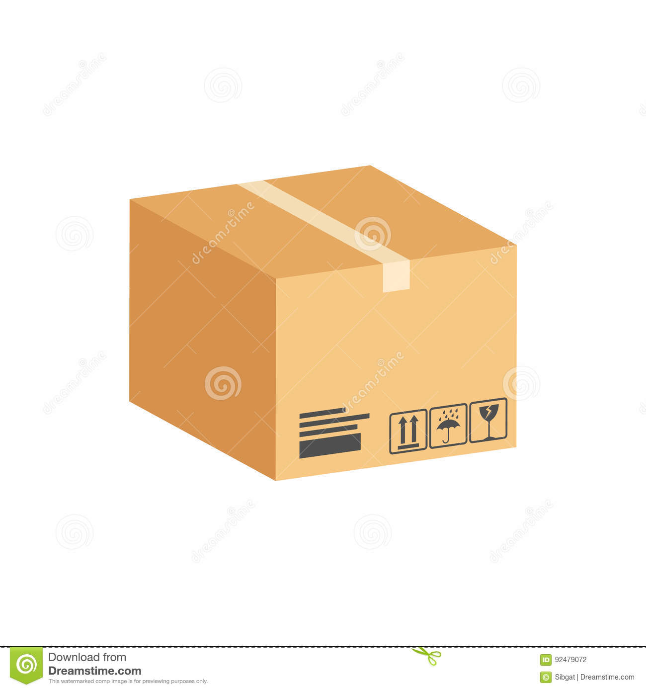 cardboard box parcel symbol flat isometric icon or logo stock