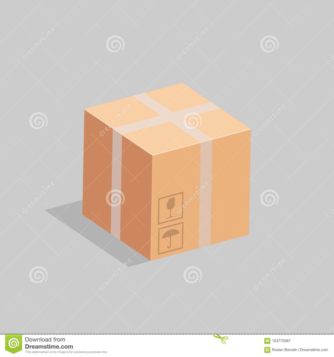 A cardboard box which packing labels . Vector illustration.