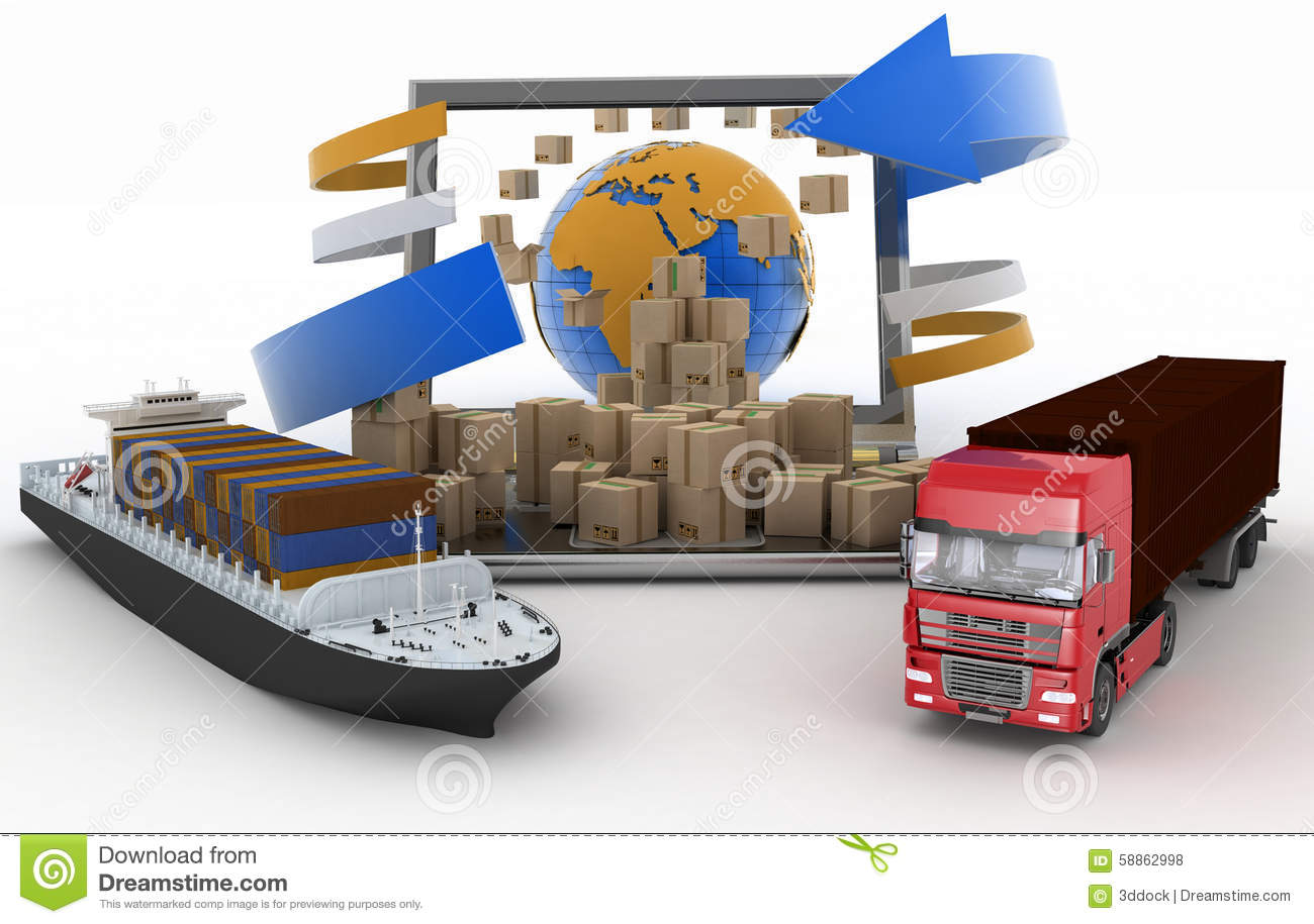 cardboard boxes around the globe on a laptop screen  a delivery truck clipart images delivery truck clip art border