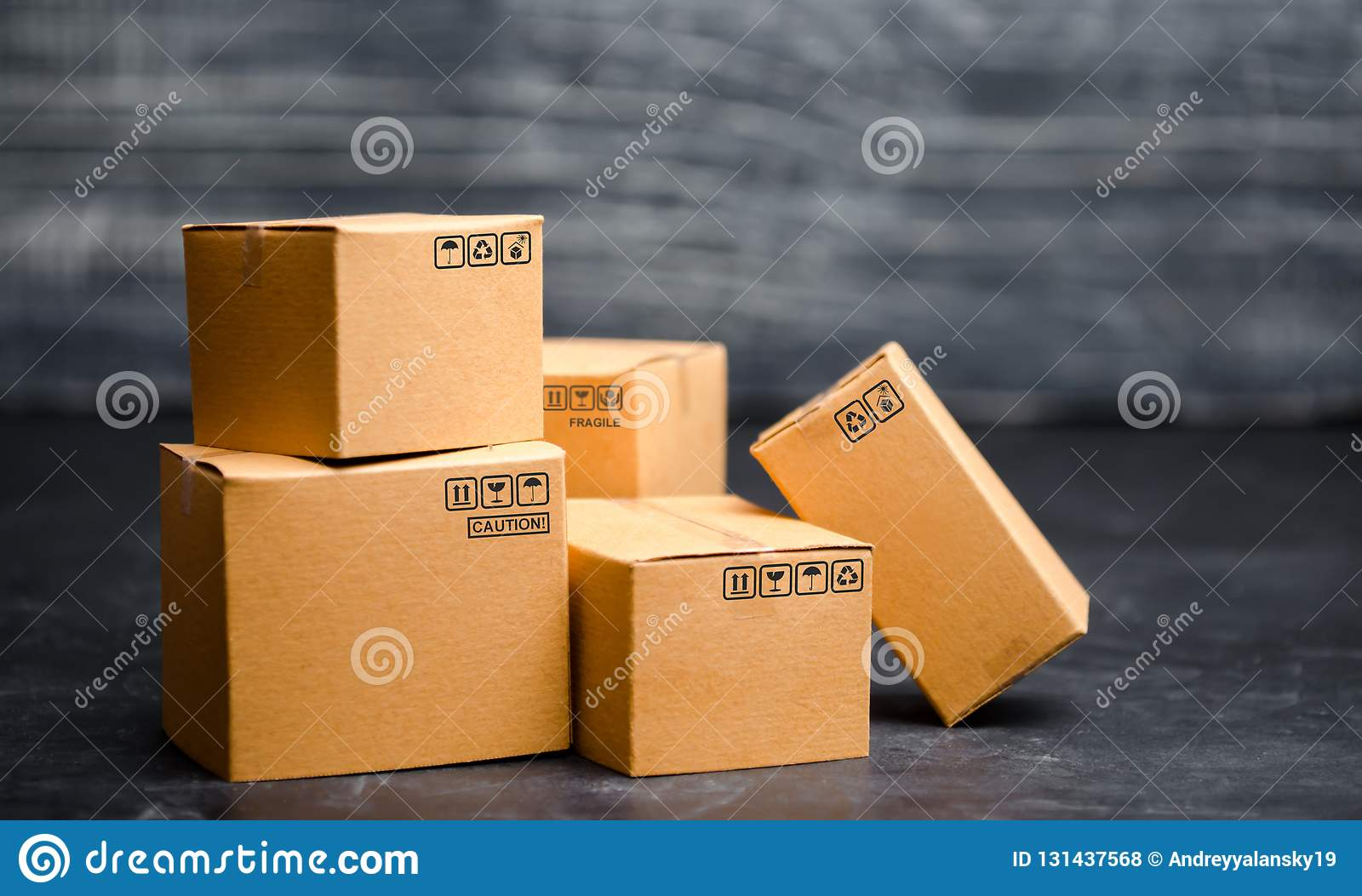Cardboard boxes. The concept of packing goods, sending orders to customers. Warehouse of finished products and equipment. Moving