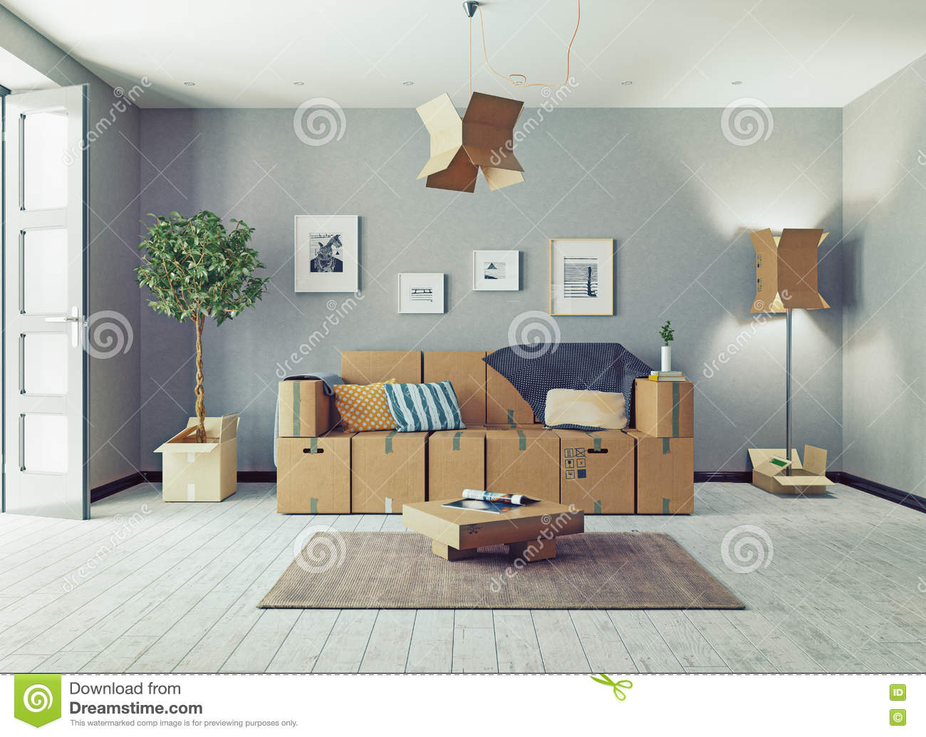Cardboard Boxes Design Room Stock Illustration Illustration Of Move Apartment 95372645