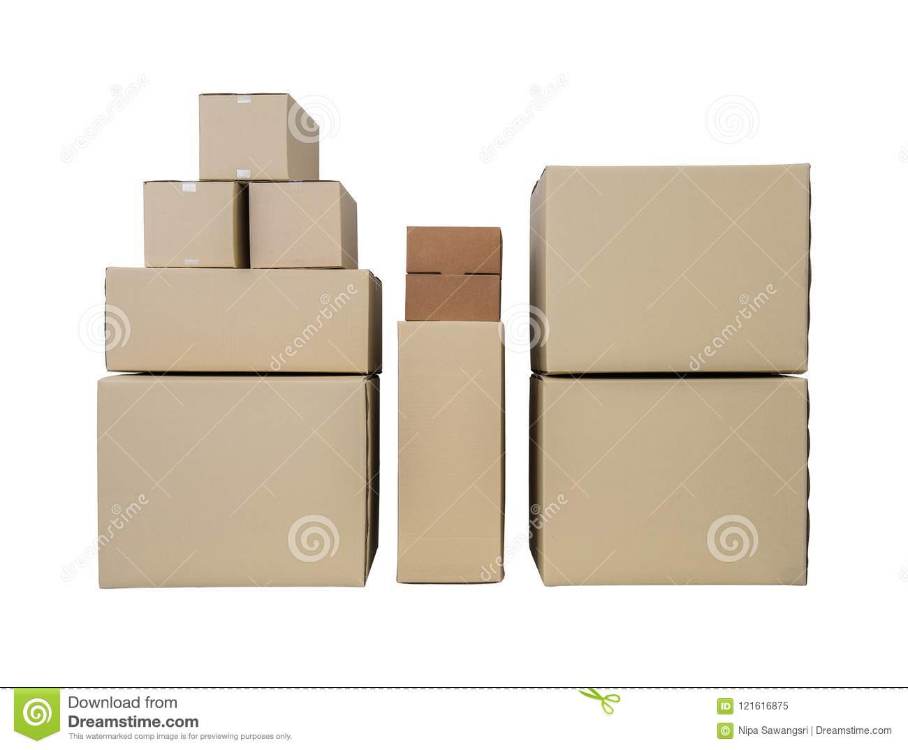 cardboard boxes in different sizes stacked boxes isolated on whi