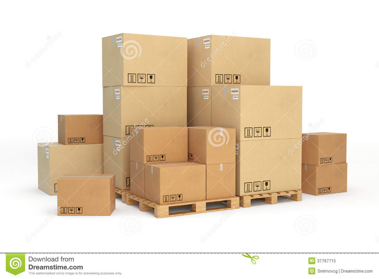 Download Cardboard Boxes On A Pallet White Background Stock Illustration