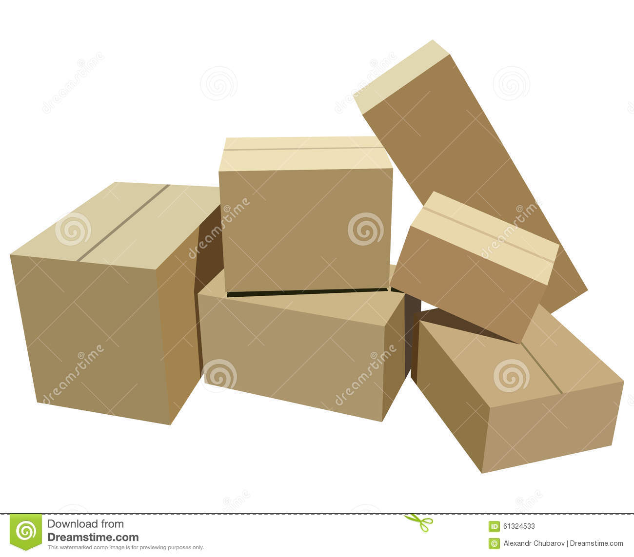 Cardboard boxes stock vector image