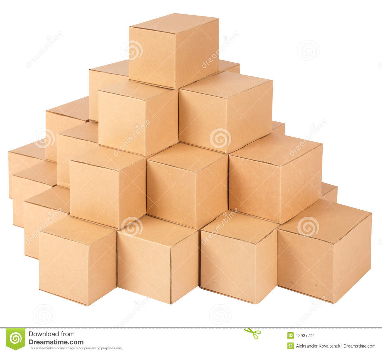 Cardboard Boxes.Pyramid From Boxes Stock Image - Image: 13937741