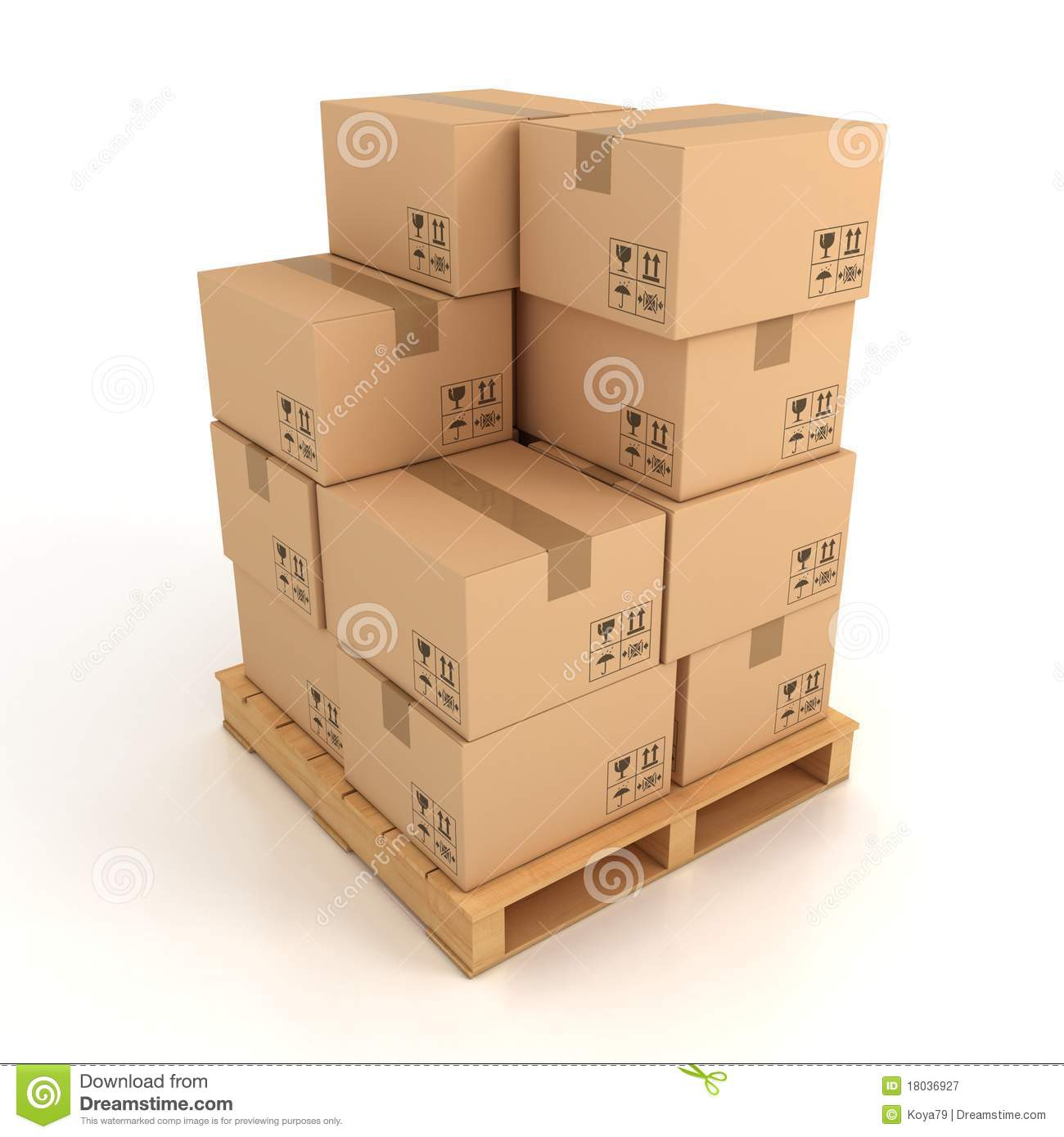 Cardboard Boxes On Wooden Palette Royalty Free Stock