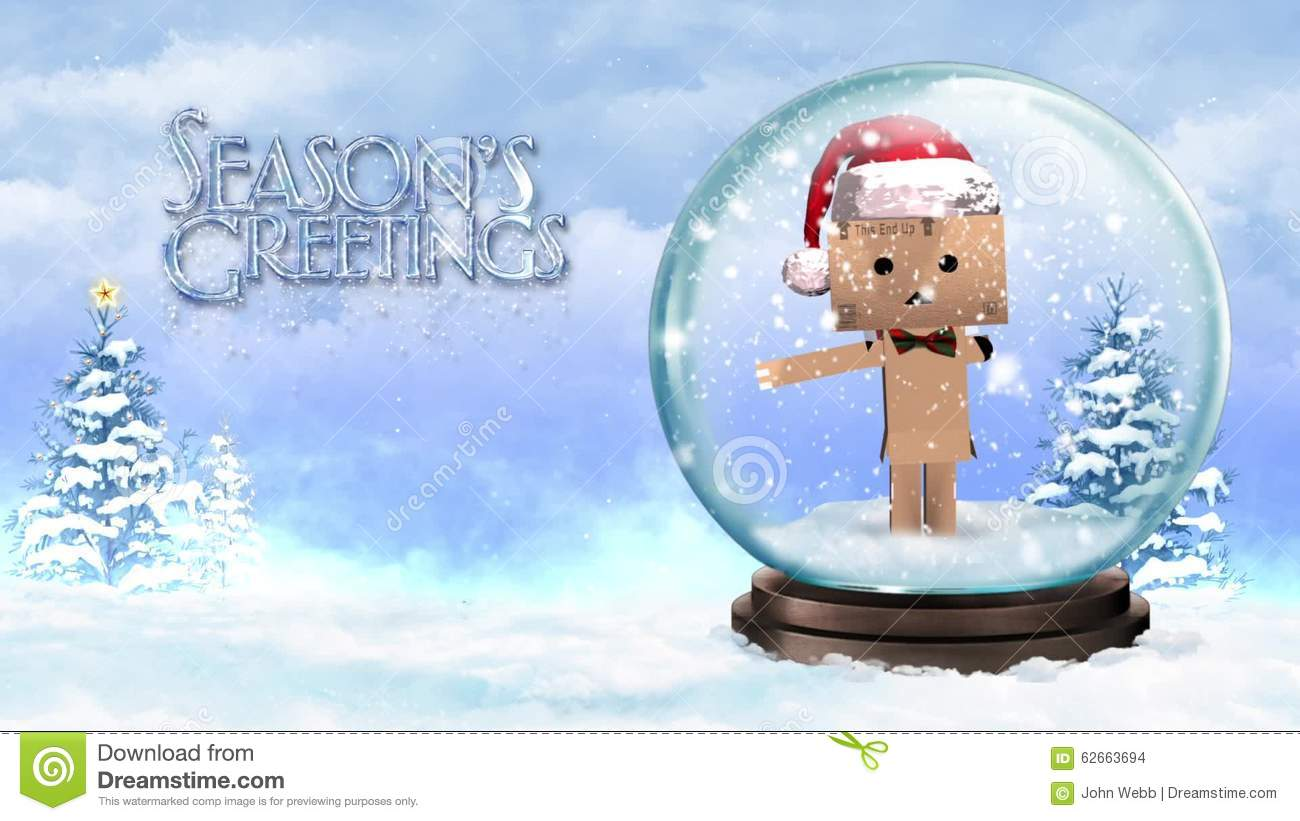Cardboard Character In A Snow Globe With Seasons Greetings Stock