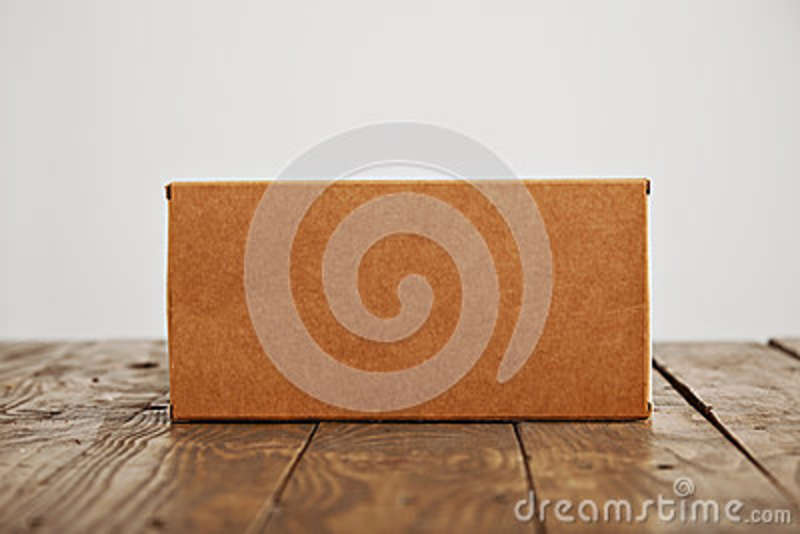 Download Cardboard Craft Package Box And Bag Set Stock Image