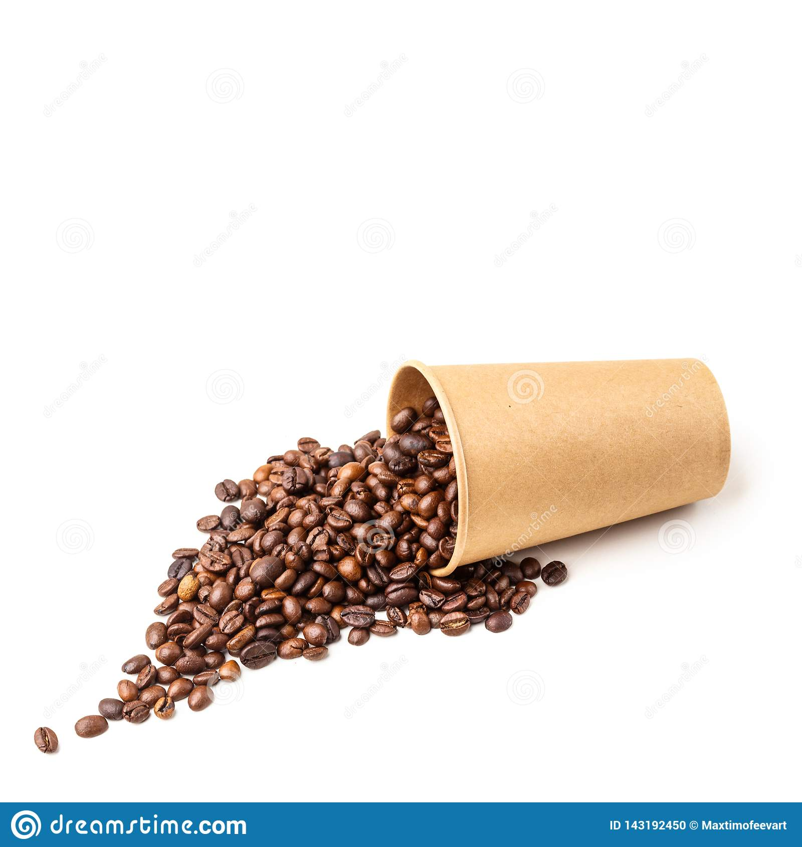 Cardboard cup filled with coffee beans. Isolated