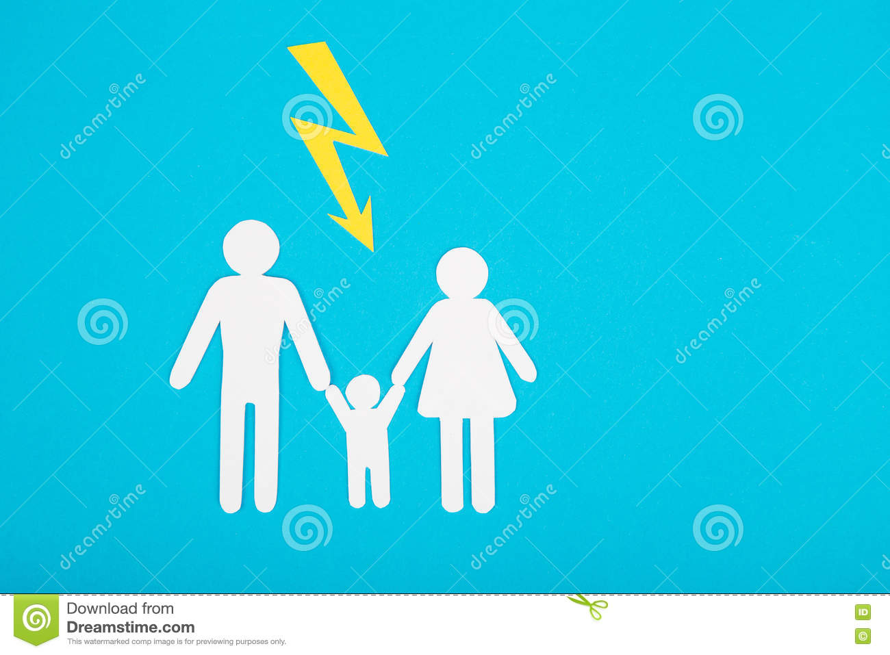 Cardboard Figures Of The Family On A Blue Background The Symbol