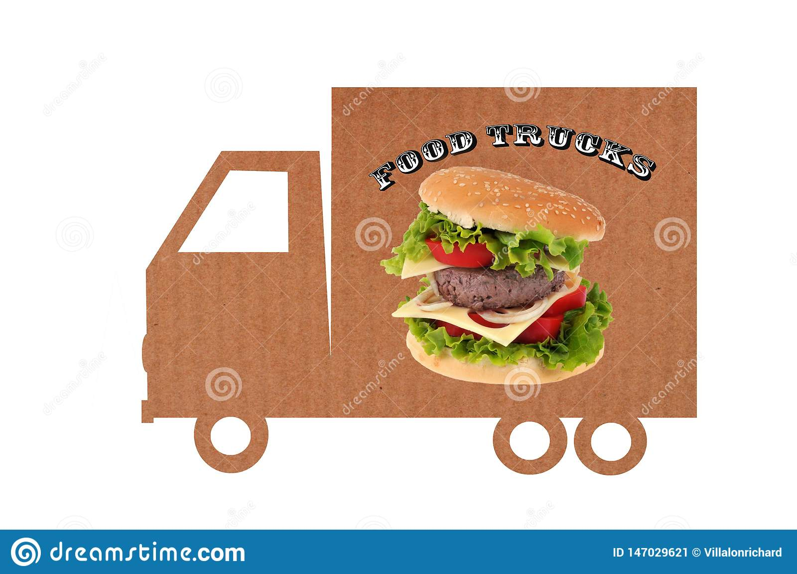 Cardboard food truck concept on white background