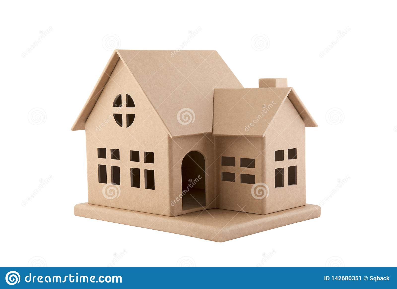 Cardboard House Isolated On White With Clipping Path Stock