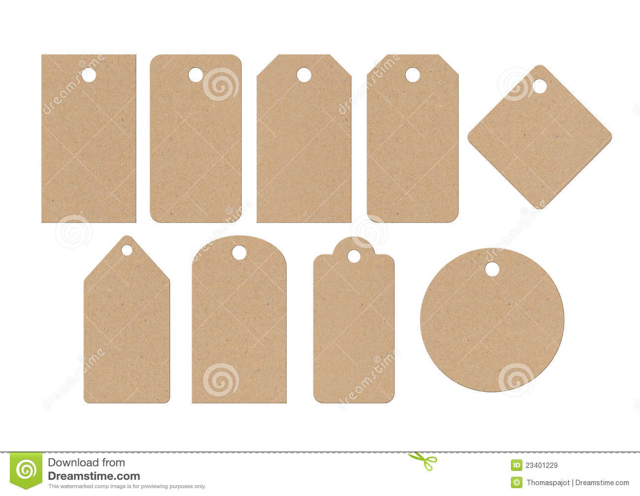 Differents forms of cardboard labels isolated on white background.