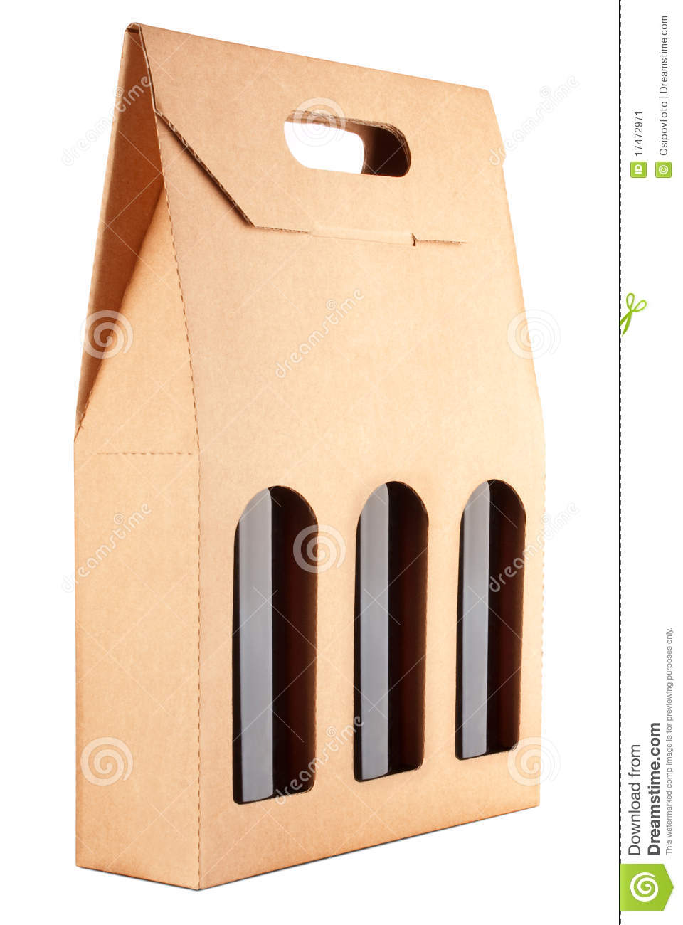 Cardboard Pack With Three Bottles Of Wine Stock Image