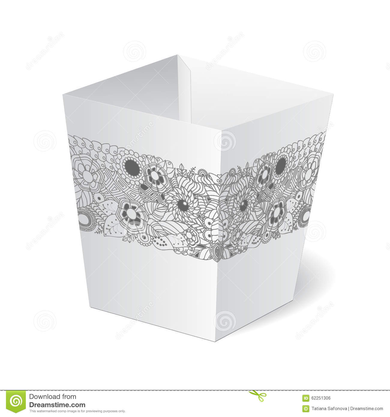 Cardboard Package Box With Floral Pattern On The White Stock ...
