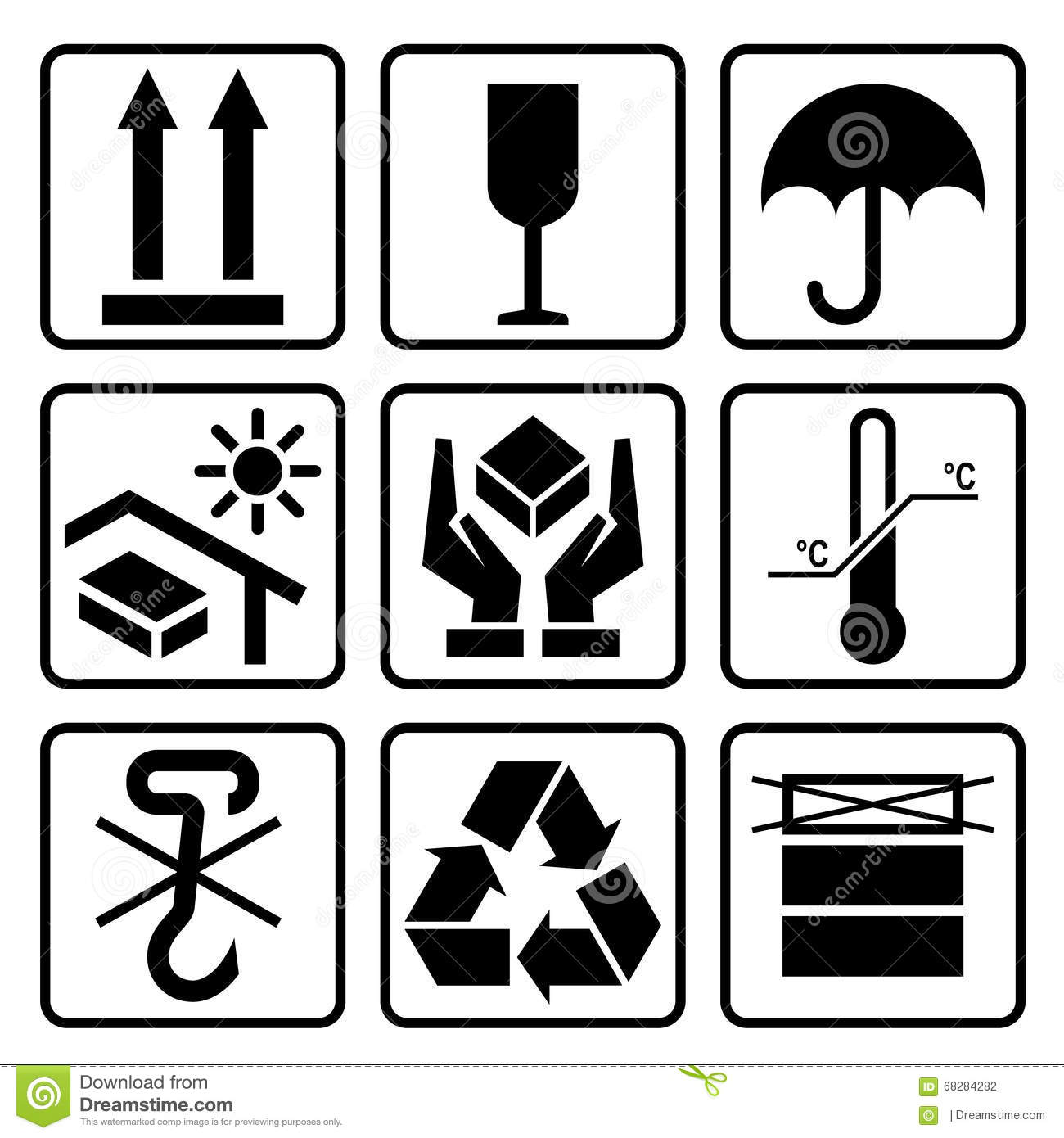 Cardboard Packaging Icon Set Stock Vector Image 68284282