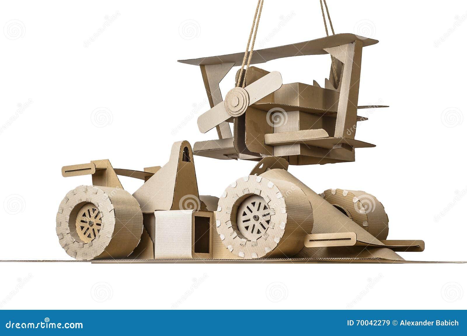 Cardboard Racing Car And Cardboard Plane Stock Image - Image