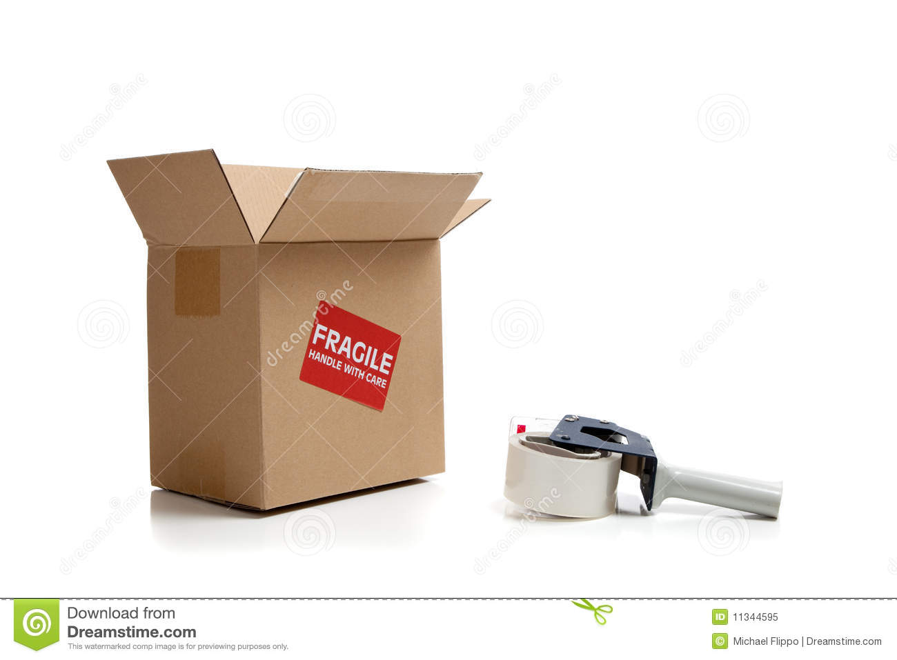 cardboard shipping box with a tape gun royalty free stock photo image 11344595. Black Bedroom Furniture Sets. Home Design Ideas
