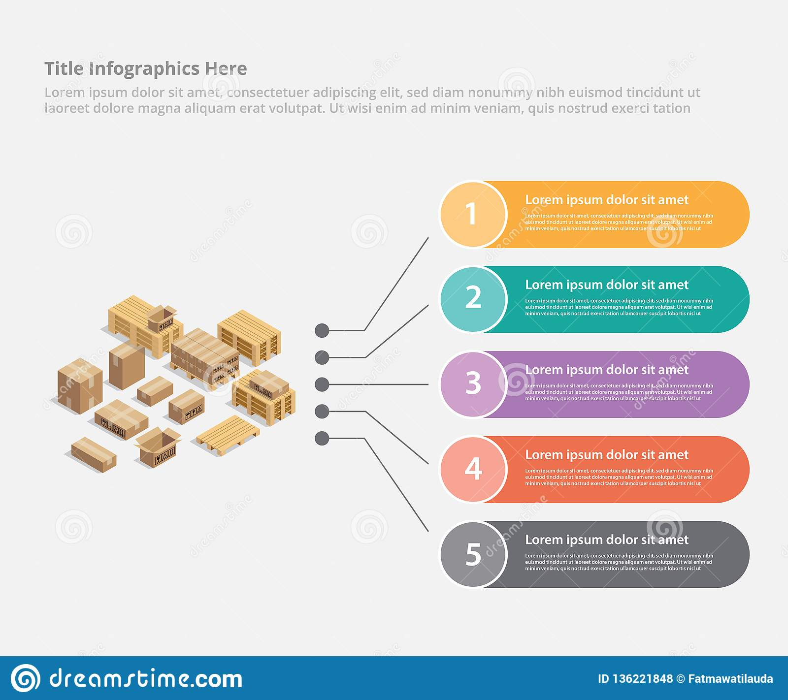 Cardboard Shipping Infographic Business Data Template Banner For