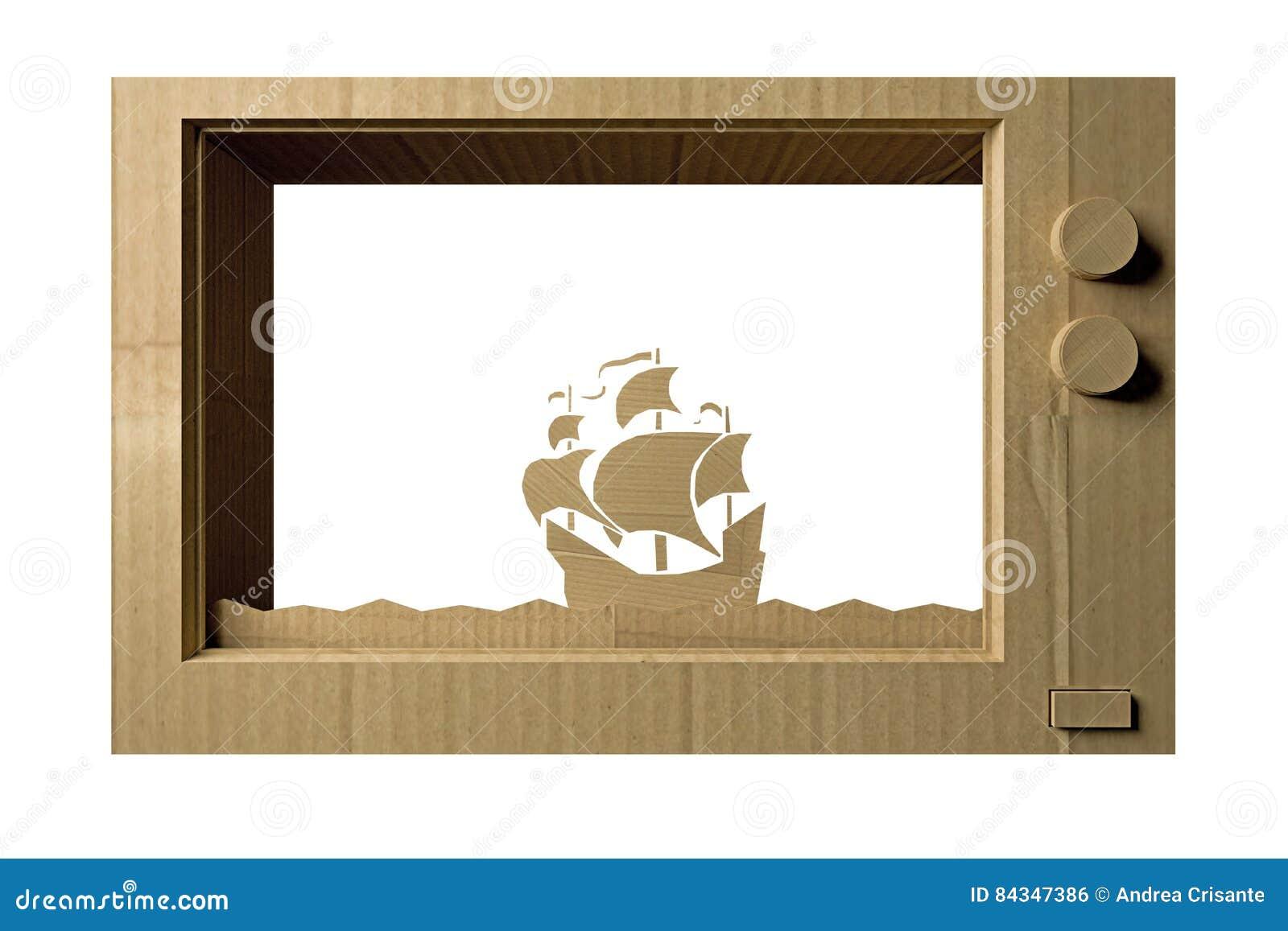 Cardboard tv stock illustration. Illustration of channel - 84347386
