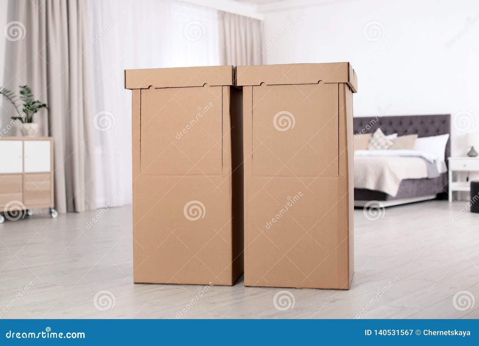 Cardboard Wardrobe Boxes In Bedroom Stock Image Image Of
