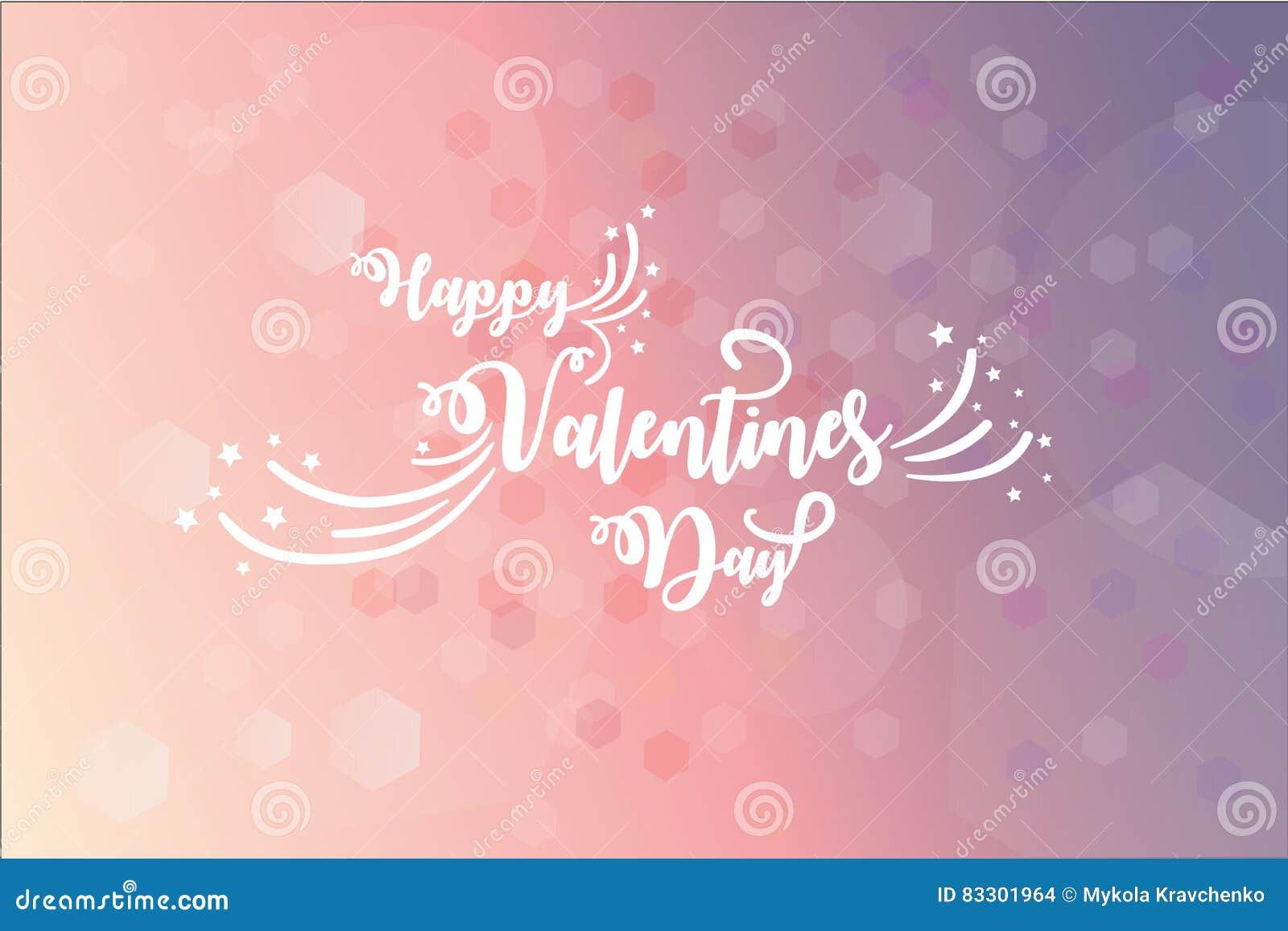 Carde com desejos do dia de Valentim sobre o fundo cor-de-rosa alargado blury