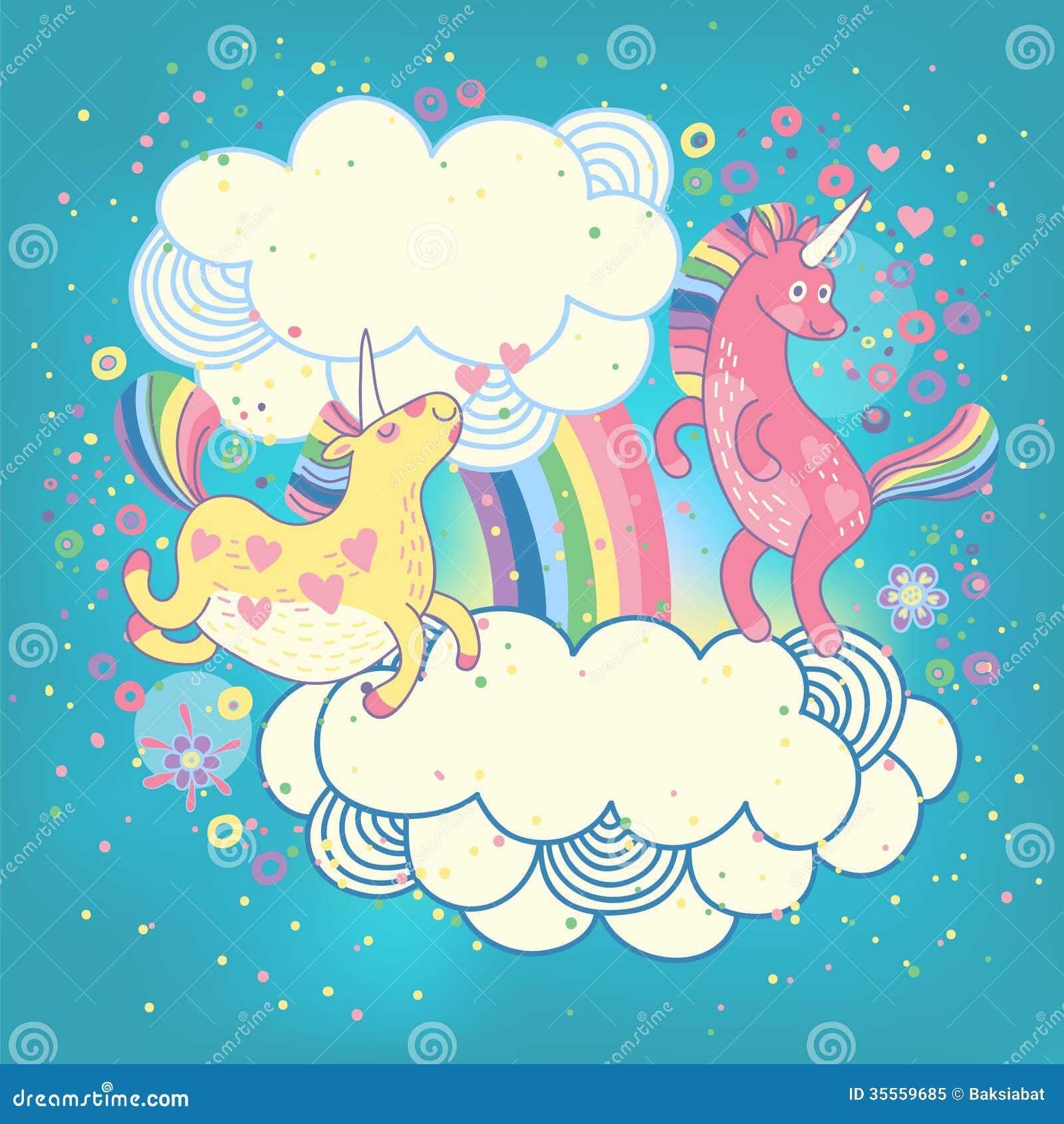 Carde con un arco iris lindo de los unicornios en las nubes.