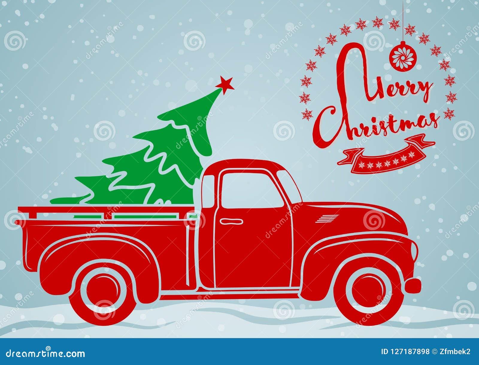 Cardez la salutation de Noël Collecte de vintage, camion avec l arbre de Noël