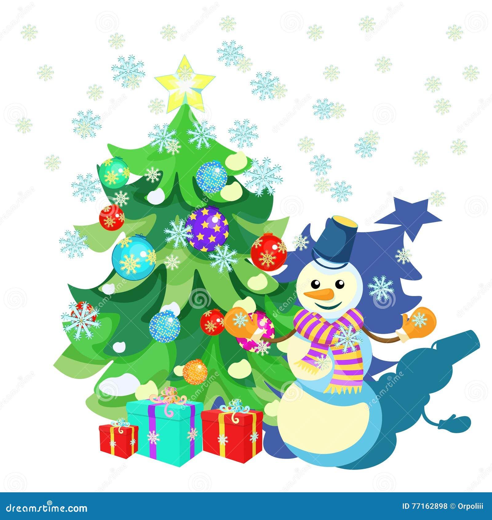 Cardez les décorations de Noël, arbre de Noël, cadeaux, bonhomme de neige