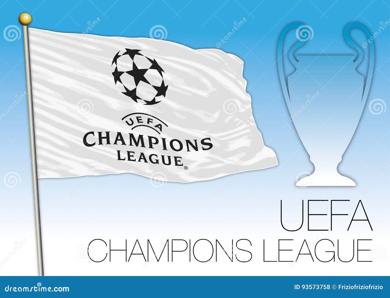 CARDIFF, ZJEDNOCZONE KRÓLESTWO, CZERWIEC 2017 - Definitywnego dopasowania champions league filiżanka, UEFA flaf i symbol,