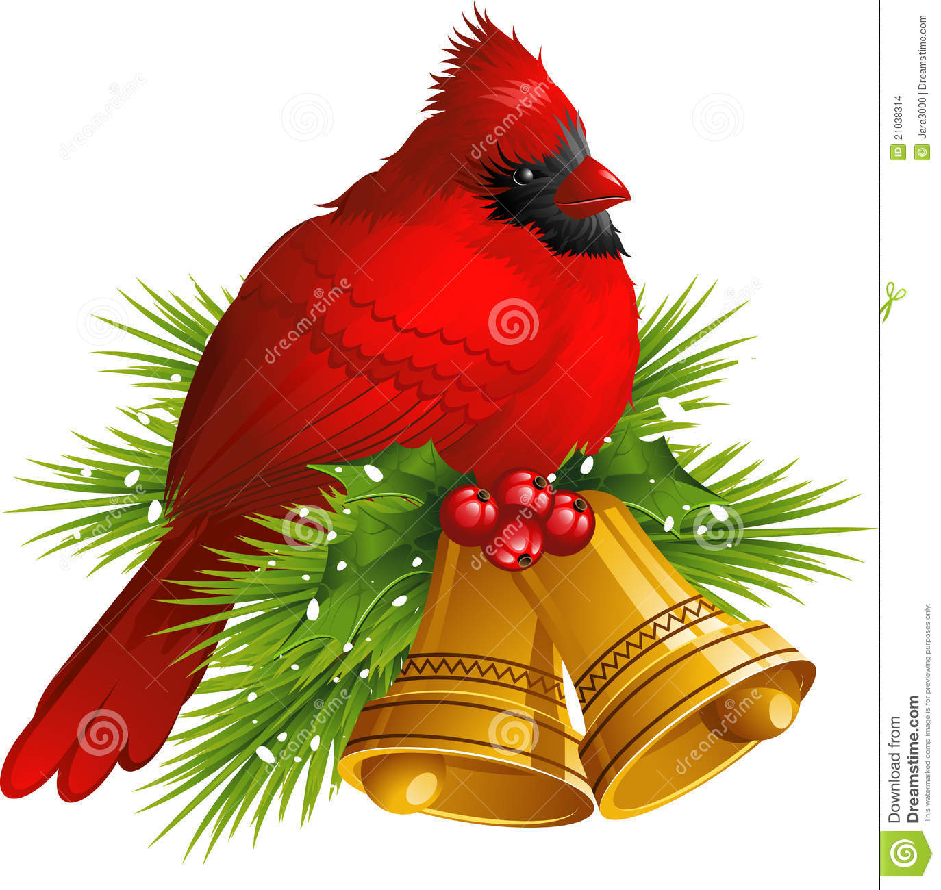 cardinal bird with christmas bells - Red Cardinal Christmas Decorations