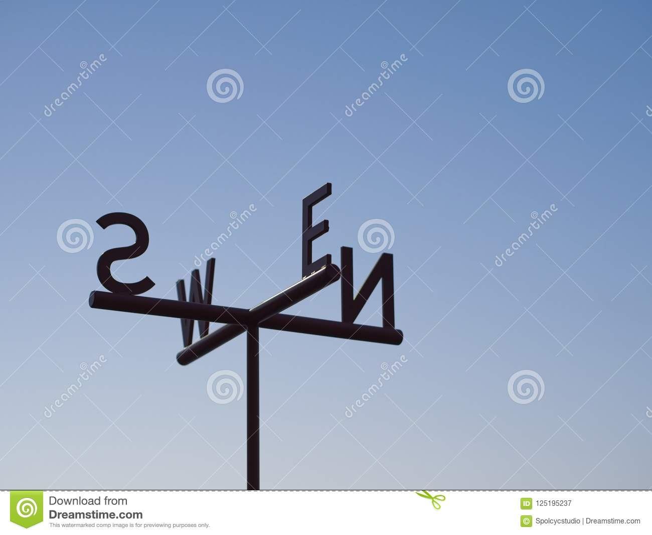 Cardinal Direction Direction pointer Sign against blue sky