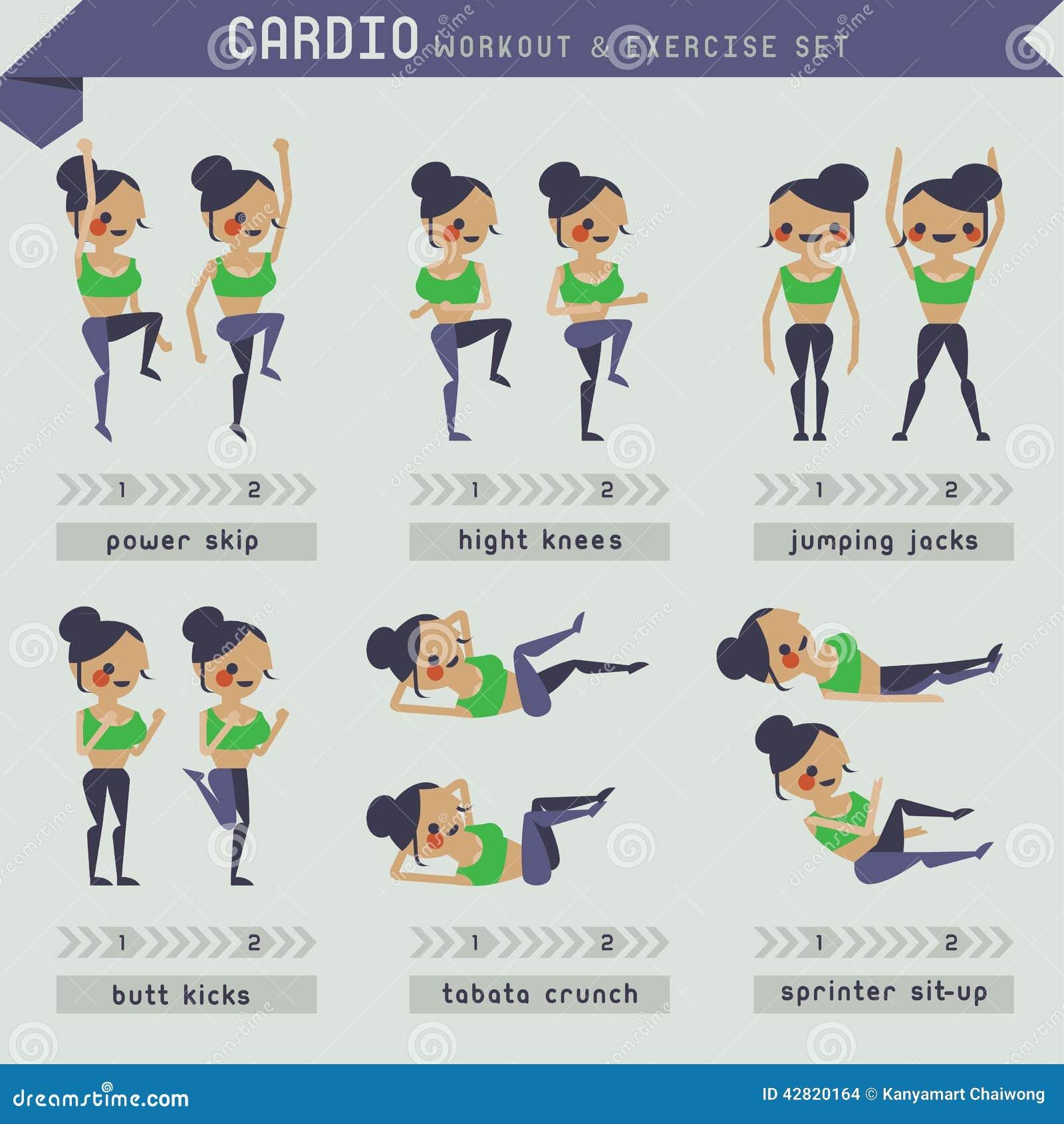 Cardio- Ensemble De Séance D'entraînement Et D'exercice