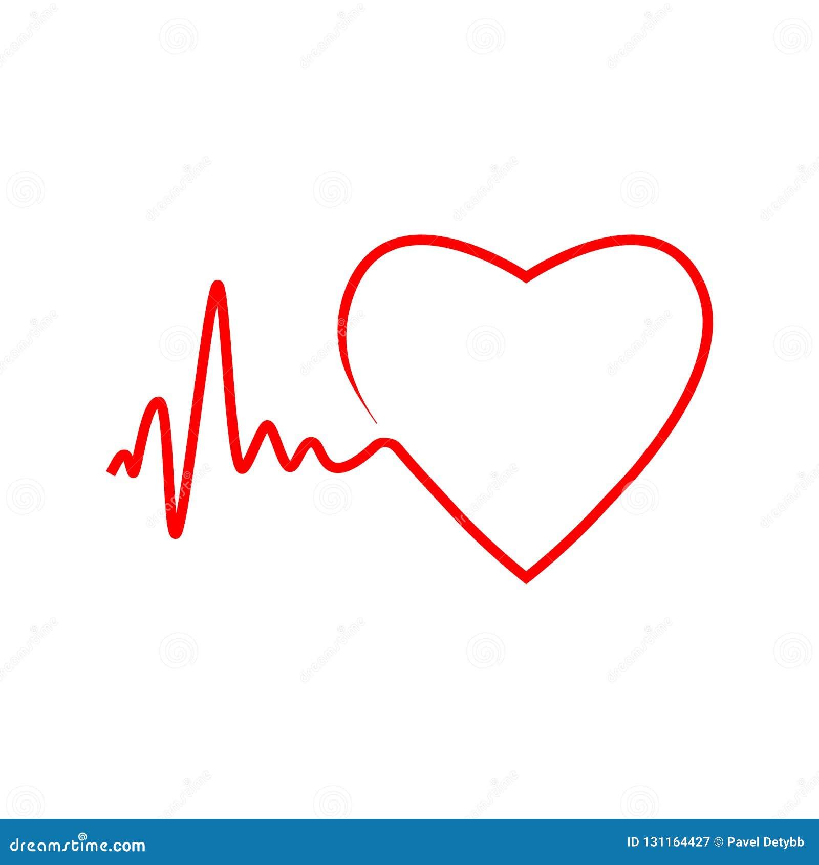Cardio, hart, hart sla pictogram Vectorillustratie, vlak ontwerp