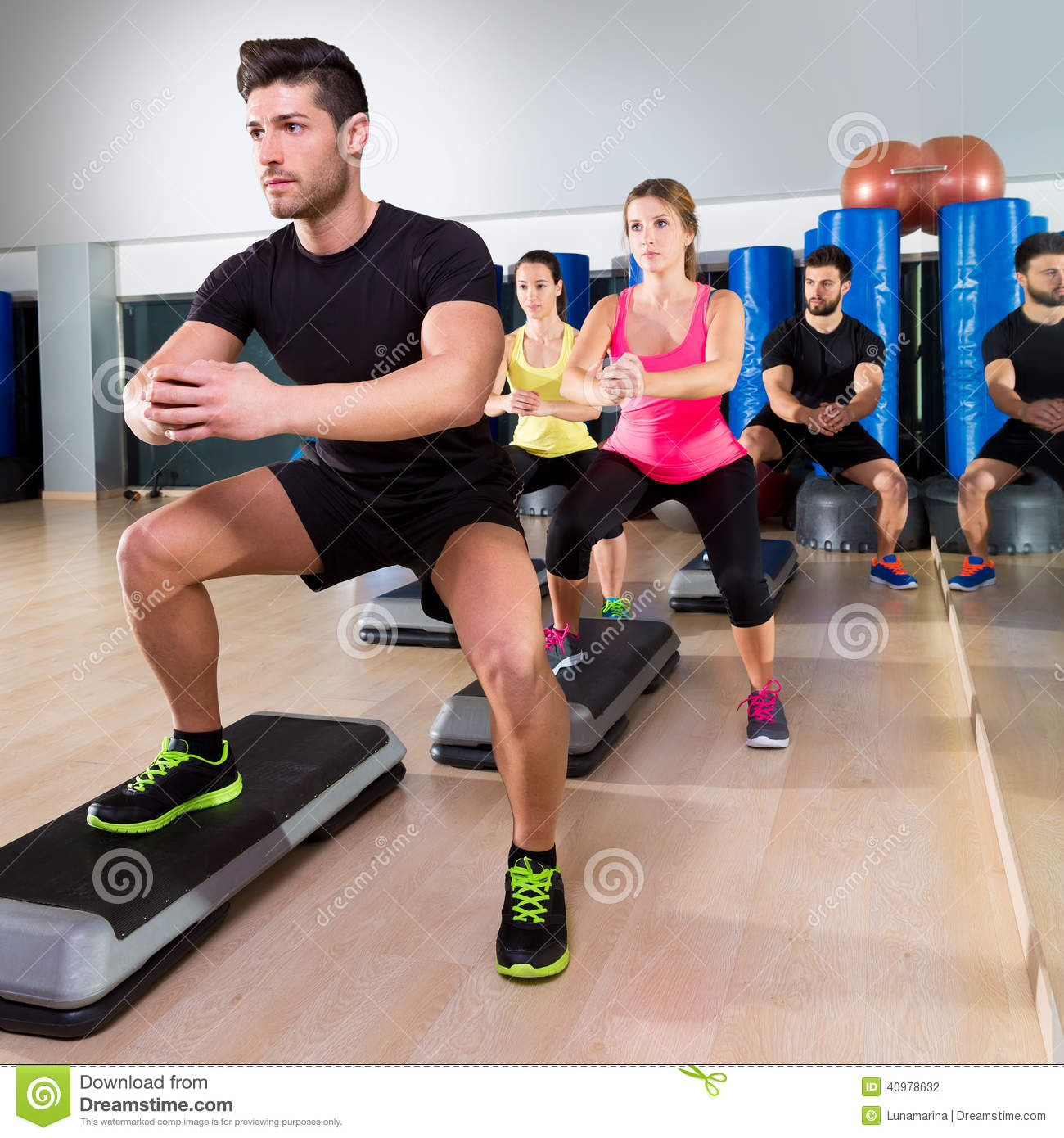 cardio step dance squat group at fitness gym stock photo clipart ringing phone clipart ring image