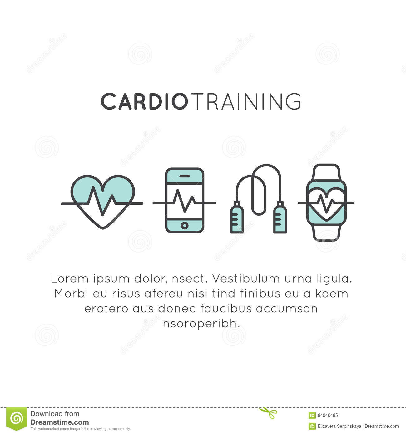 Download Cardio Training Fitness And Gym Workout Object Stock Illustration